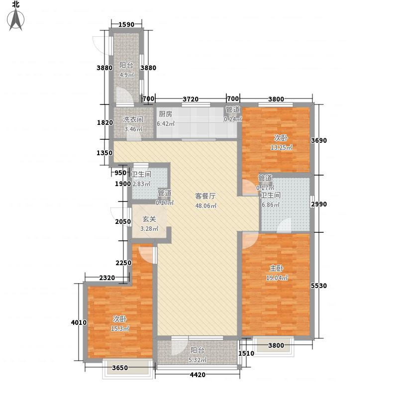 万科城3室1厅2卫1厨179.00㎡户型图