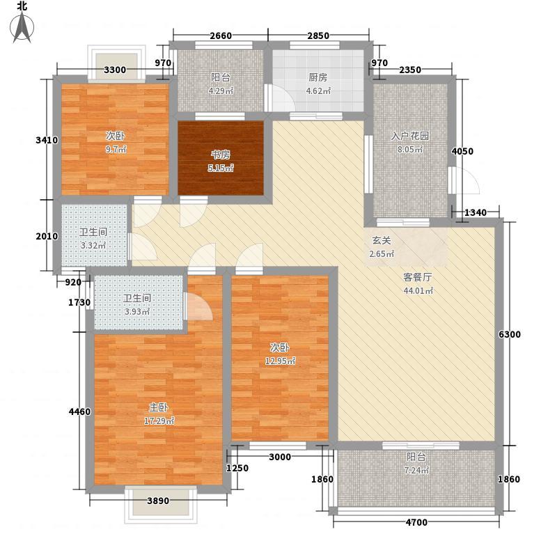 锦绣世家142.22㎡户型4室2厅2卫1厨