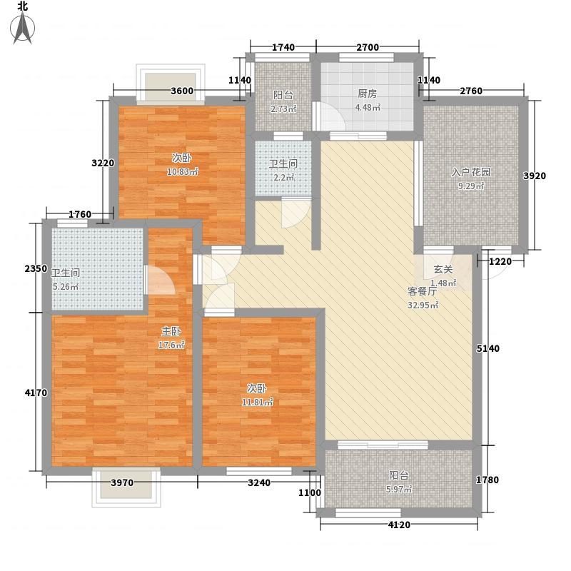 锦绣世家3室1厅2卫1厨125.00㎡户型图