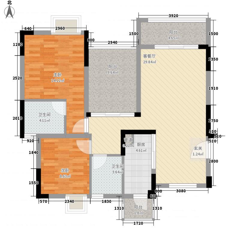 碧湖湾2室1厅2卫1厨81.39㎡户型图