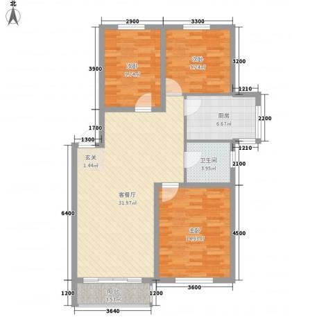 博众新城二期3室1厅1卫1厨105.00㎡户型图