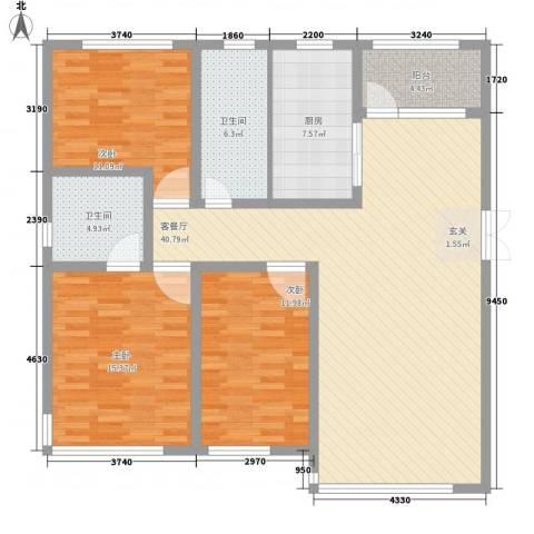 国宝星月湾3室1厅2卫1厨146.00㎡户型图