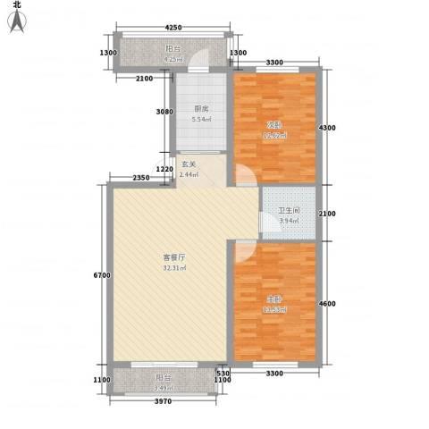 博众新城二期2室1厅1卫1厨100.00㎡户型图