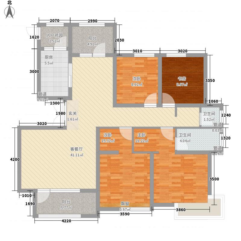 银川绿地城165.00㎡澜香阔府户型4室2厅2卫1厨