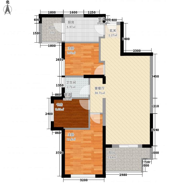 保利拉菲3室1厅1卫1厨72.40㎡户型图
