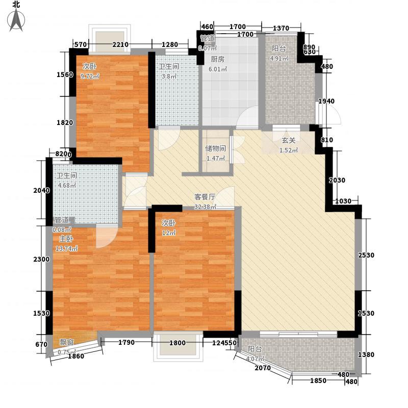 怡新花园3室1厅2卫1厨132.00㎡户型图