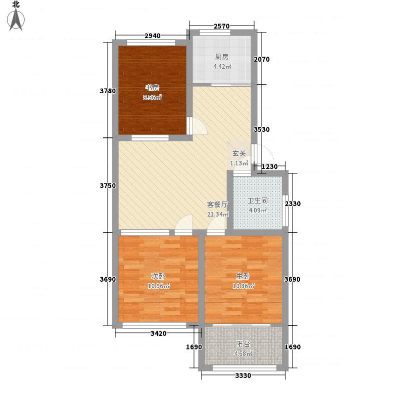 华安世纪樱园3室1厅1卫1厨65.91㎡户型图