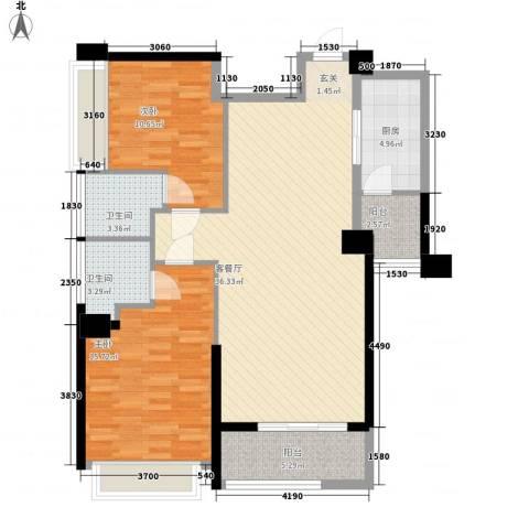 五洲家园2室1厅2卫1厨82.17㎡户型图