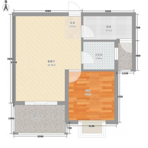 新城玉龙湾1室1厅1卫1厨65.00㎡户型图