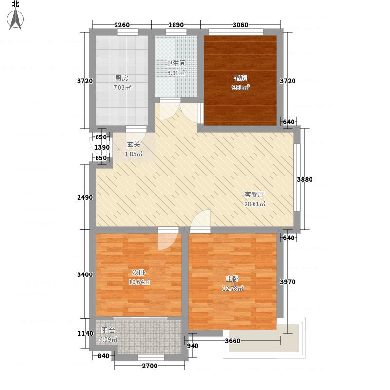 华安世纪樱园3室1厅1卫1厨76.86㎡户型图