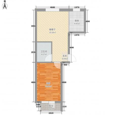 今都小区1室1厅1卫1厨63.00㎡户型图