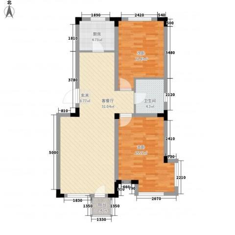 浅水湾畔2室1厅1卫1厨98.00㎡户型图