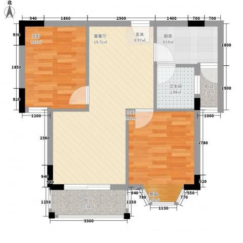 逸品台2室1厅1卫1厨82.00㎡户型图