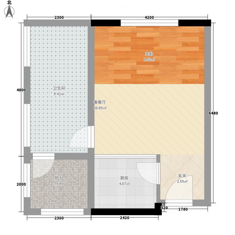 天圆养生苑0室1厅1卫1厨57.00㎡户型图