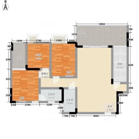 香草山二期3室1厅2卫1厨96.49㎡户型图