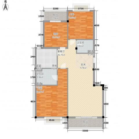 腾龙名苑3室1厅2卫1厨152.00㎡户型图