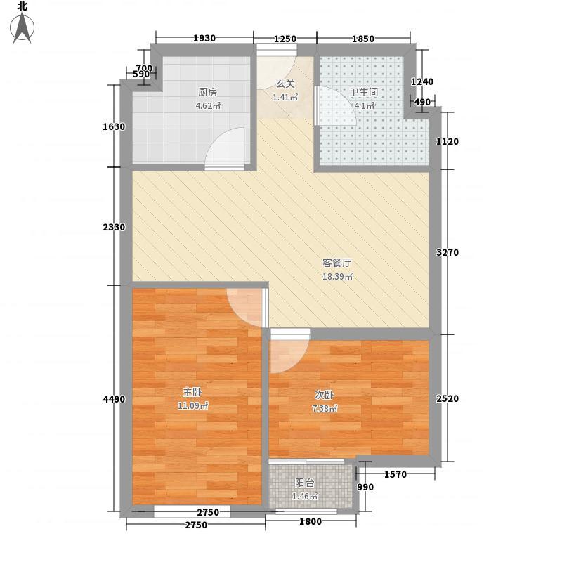美恒领寓68.00㎡C户型2室2厅1卫1厨