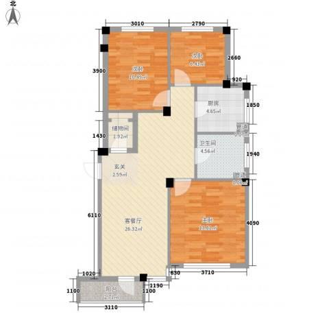 达波尔国际公寓3室1厅1卫1厨100.00㎡户型图