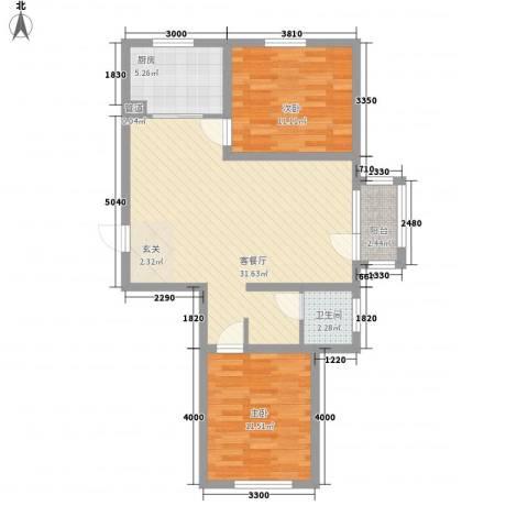 紫林湾2室1厅1卫1厨64.28㎡户型图