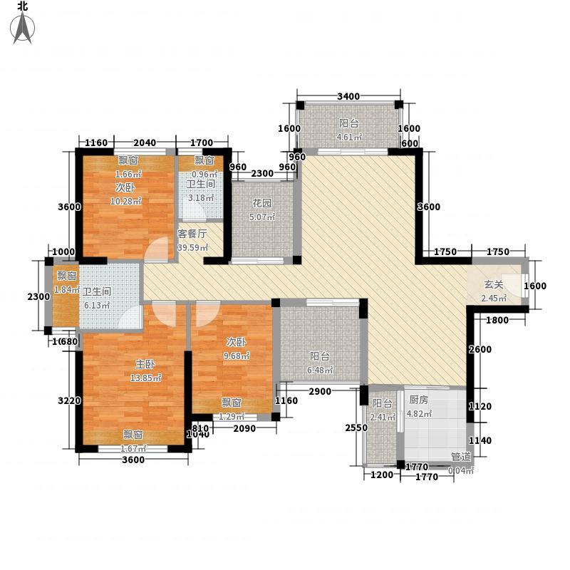 江湾一品3室1厅2卫1厨152.00㎡户型图