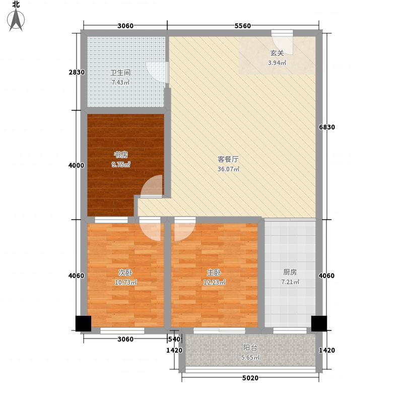 浙江大厦126.23㎡浙江大厦户型图公寓3567#户型3室1厅1卫1厨户型3室1厅1卫1厨