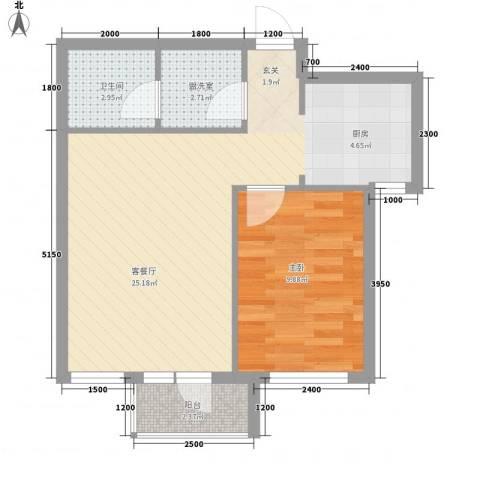 山河秀景1室1厅1卫0厨61.00㎡户型图