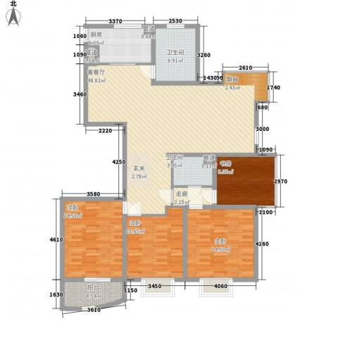 勤德家园4室1厅2卫1厨173.00㎡户型图