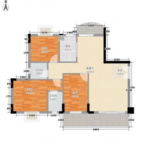 建设新村3室1厅2卫1厨84.34㎡户型图