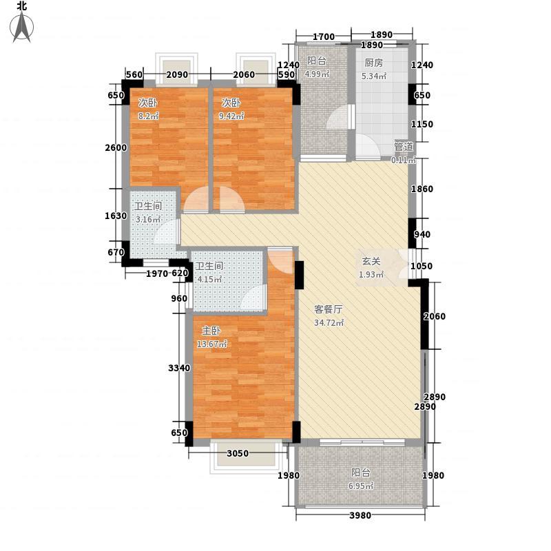 半岛1号五期3室1厅2卫1厨127.00㎡户型图