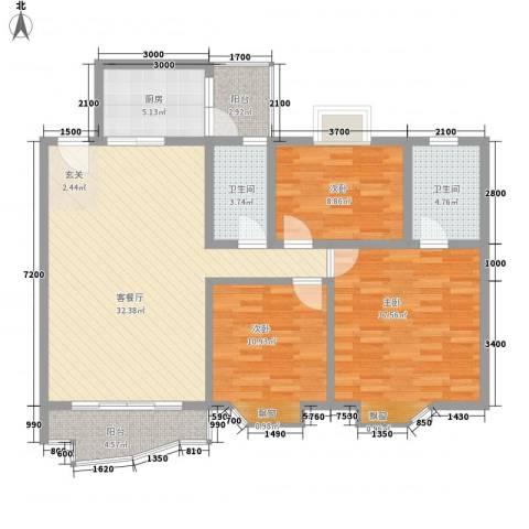 庆峰花园二期3室1厅2卫1厨122.00㎡户型图