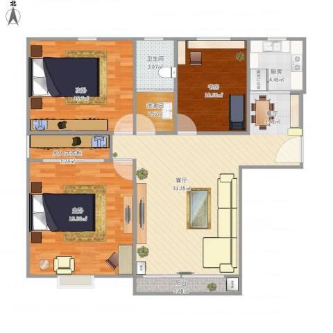 中环城紫荆公馆3室1厅1卫1厨125.00㎡户型图