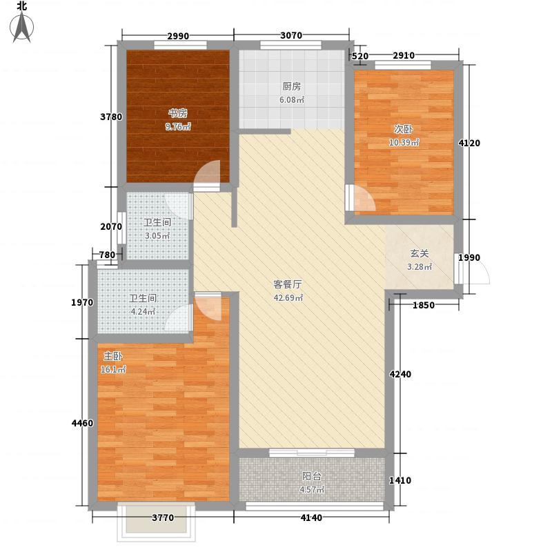 金域华府3室1厅2卫0厨90.79㎡户型图