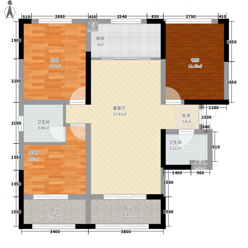 龙门山水华庭3室1厅2卫1厨119.00㎡户型图