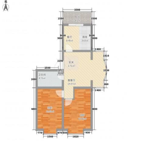 嘉禾花园(和平)2室2厅1卫0厨84.00㎡户型图