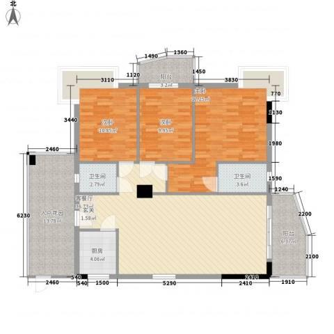 芳菲苑3室1厅2卫1厨150.00㎡户型图
