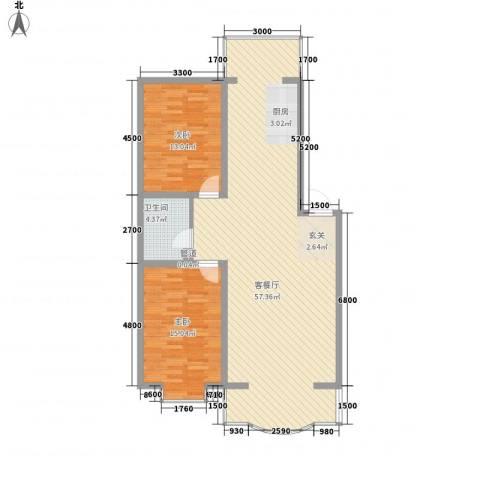 嘉禾花园(和平)2室1厅1卫0厨108.00㎡户型图