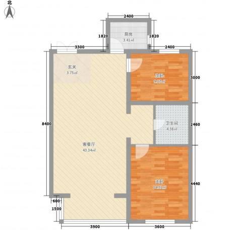 嘉禾花园(和平)2室1厅1卫1厨110.00㎡户型图
