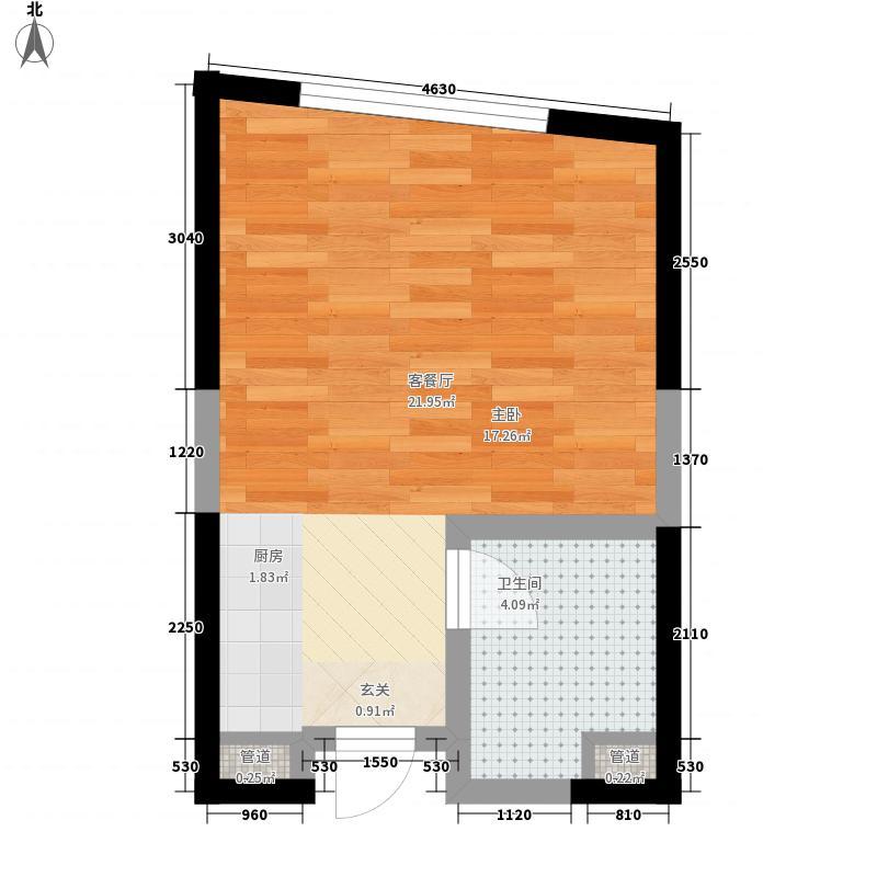 金沙国际0室1厅1卫0厨38.00㎡户型图