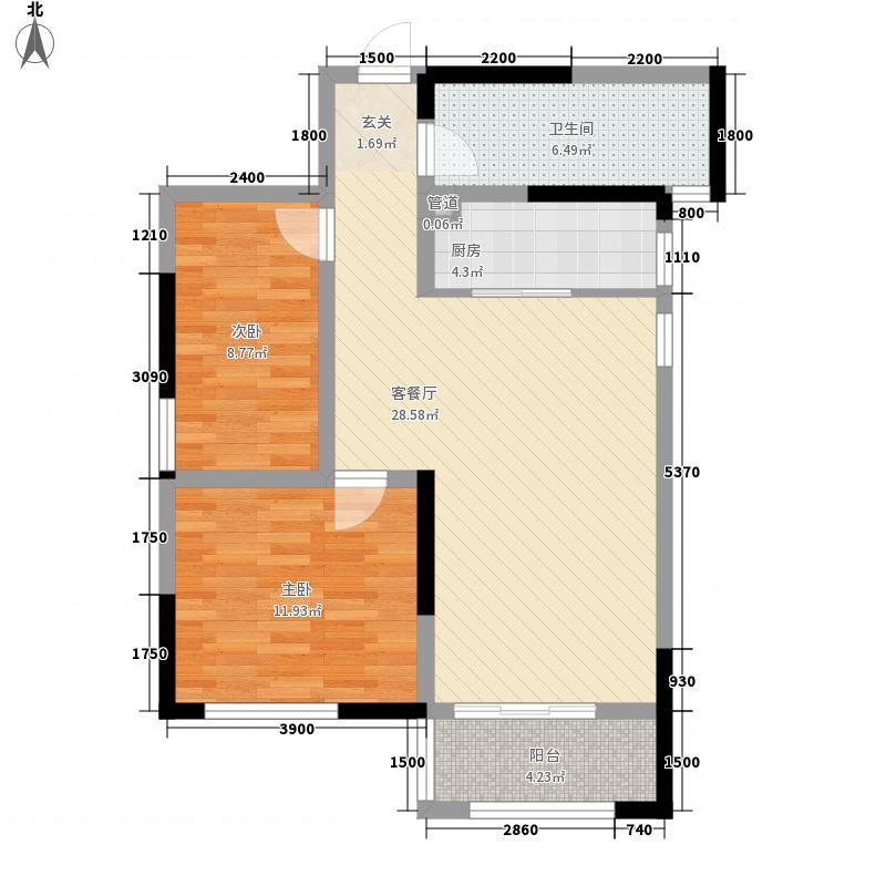龙门山水华庭2室1厅1卫1厨93.00㎡户型图