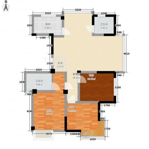 星河名居3室1厅2卫1厨130.00㎡户型图