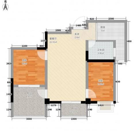 京东小区蓝天公寓2室1厅1卫1厨54.98㎡户型图