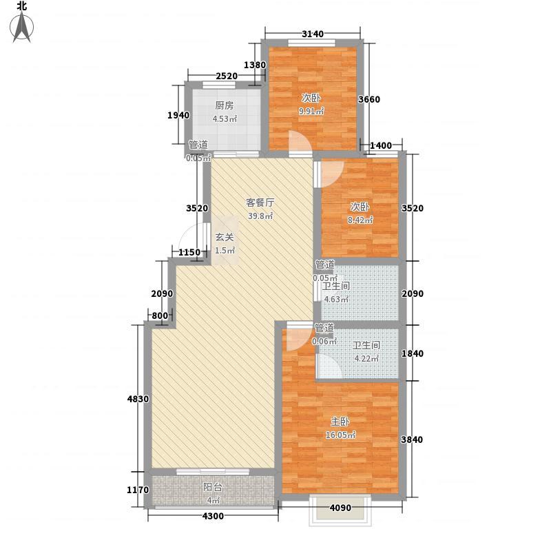 鼎原时代3室1厅2卫1厨91.72㎡户型图
