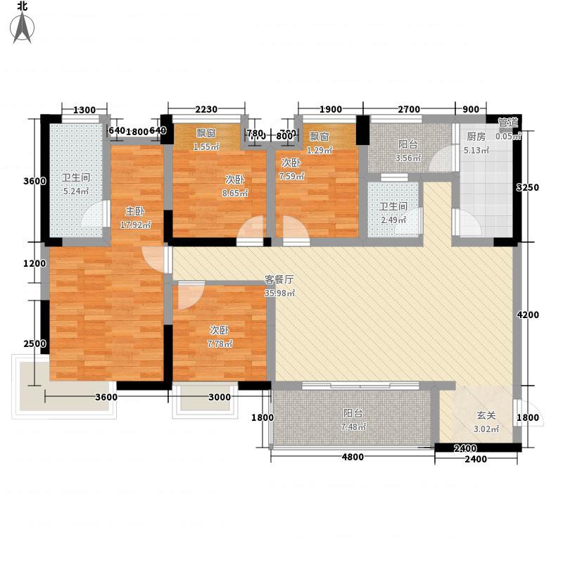 保利狮子湖128.00㎡一期14号楼洋房标准层GD2户型4室2厅2卫1厨