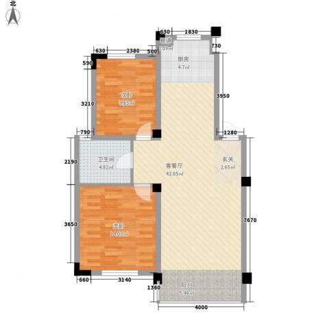 新港名兴花园2室1厅1卫0厨96.00㎡户型图