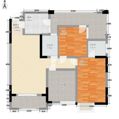 泽胜中央广场2室1厅2卫1厨131.00㎡户型图