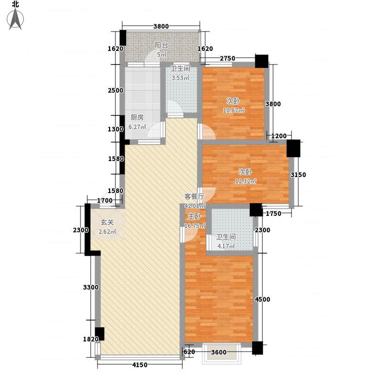 华鼎雍王府3室1厅2卫1厨145.00㎡户型图