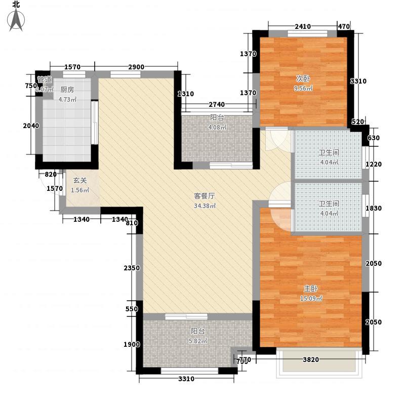 华润熙云府2室1厅2卫1厨118.00㎡户型图
