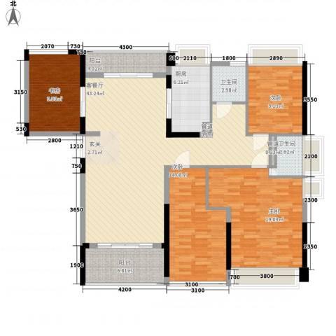 合正上东国际三期4室1厅2卫1厨127.00㎡户型图