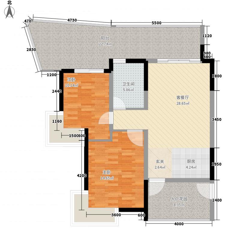 森林半岛45克拉两居室2户型2室1厅1卫1厨