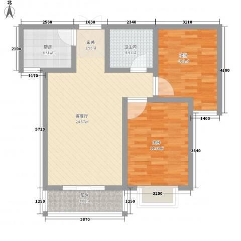 鼎原时代2室1厅1卫1厨86.00㎡户型图